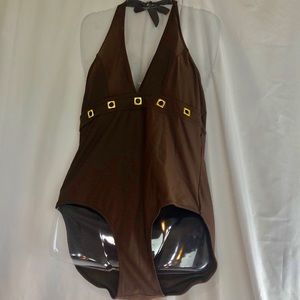 Free Country Brown One Piece Swimsuit XL